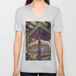 Princess and the Pea By Edmund Dulac Unisex V-Neck