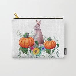 Rabbit, pumpkins , sunflowers in watercolor Carry-All Pouch