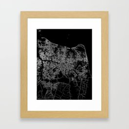 Virginia beach map Framed Art Print