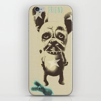 foo fighters iPhone & iPod Skins featuring FOO FOO FRENCHIE with Pet Bunny by Haus Of Lelu
