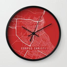 Corpus Christi Map, USA - Red Wall Clock