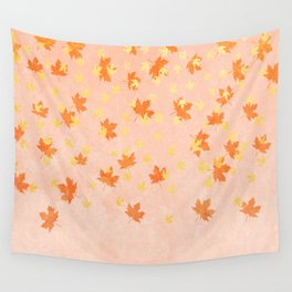 My favourite colour: Gold OCTOBER - Indian Summer - Rose Gold autumnal leaves Wall Tapestry