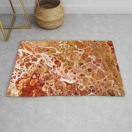 Penny Saved Red Fluid Acrylic Abstract Rug