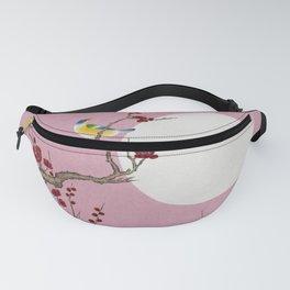 Plum blossoms, bird and the moon Type G (Minhwa: Korean traditional/folk art) Fanny Pack