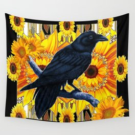 GRAPHIC BLACK CROW & YELLOW SUNFLOWERS ABSTRACT Wall Tapestry