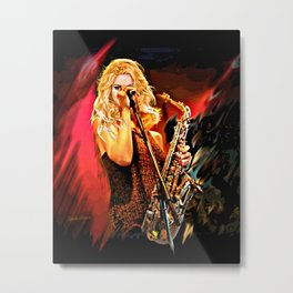 Fiery Saxophone Player Metal Print