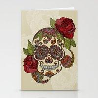 sugar skull Stationery Cards featuring Sugar Skull by Valentina Harper