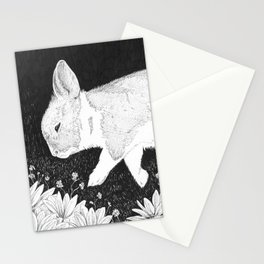 bunny in black and white Stationery Cards