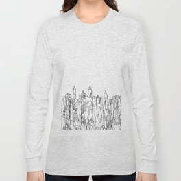 Glasgow, Scotland UK Skyline B&W - Thin Line Long Sleeve T-shirt