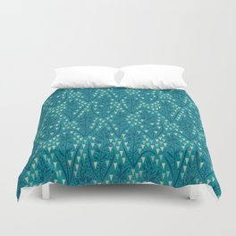 Botanical pattern with triangles and dots Duvet Cover