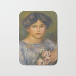 """Auguste Renoir """"Jeune fille aux roses (Young girl with flowers)"""" Bath Mat"""