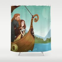 vikings Shower Curtains featuring Vikings by Supergna