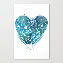White Inked Floral Heart - Blues Canvas Print