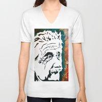einstein V-neck T-shirts featuring Einstein by kingtattoo