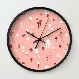 Autumn Mushrooms Pale Rose Wall Clock