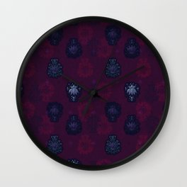 Lotus flower - blueberry purple woodblock print style pattern Wall Clock