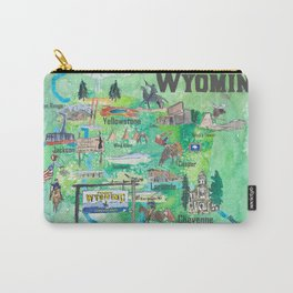 USA Wyoming State Illustrated Travel Poster Favorite Map Carry-All Pouch