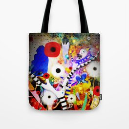 Since you are here - Striped Tree Black and white - Rainbow Abstract Art Tote Bag