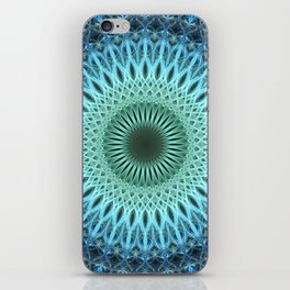 Light blue mandala with a bit of green iPhone Skin