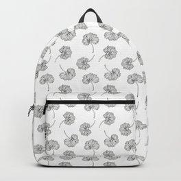 Black and White Geranium Leaf Pattern Backpack