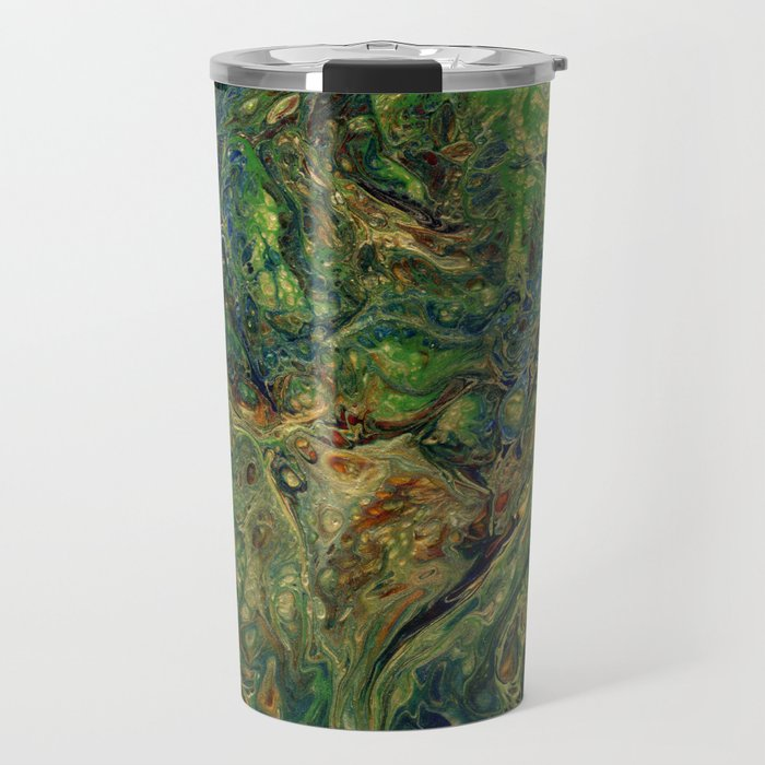 Blue Green Gold Copper Lava Flow Travel Mug