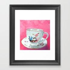 Bird on Teacup Framed Art Print