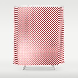Fiery Red Polka Dots Shower Curtain
