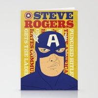 steve rogers Stationery Cards featuring Steve Rogers/Captain America by Joseph Rey Velasquez