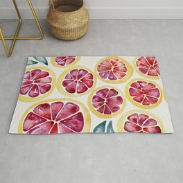 Sliced Grapefruits Watercolor Rug