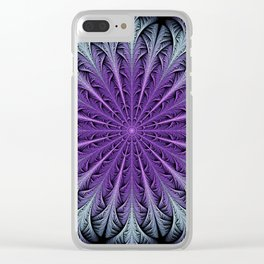 Snow crystal in blue and purple Clear iPhone Case