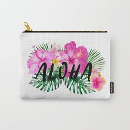 ALOHA - Tropical Flowers, Palm Leaves and Typography Carry-All Pouch