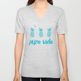 Pura Vida Pineapples in Blue Unisex V-Neck
