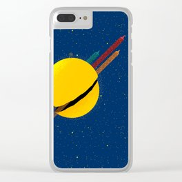 033 Rocket to the moon!!! Clear iPhone Case