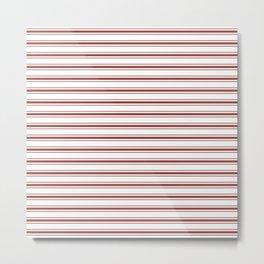 Vintage New England Shaker Barn Red Milk Paint Mattress Ticking Horizontal Wide Striped Metal Print