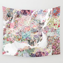 Montreal map - Landscape orientation Wall Tapestry
