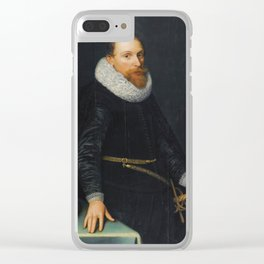 Michiel Jans van Mierevelt Portrait Of a Gentleman, Three-quarter Length, Standing, Wearing a Black Clear iPhone Case