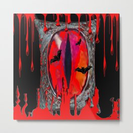 Red  Hells Gate Portal Blood & Bats Metal Print