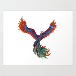 Peacock Phoenix  Art Print
