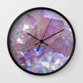 Pink Aura Crystals Wall Clock