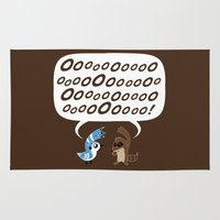regular show Area & Throw Rugs featuring Regular Show - Mordecai and Rigby by Joel Jackson