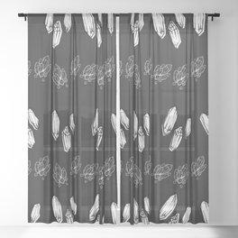 Crystals  gray and black pattern Sheer Curtain