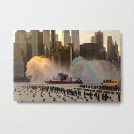 FDNY water show at 4th of July Fireworks Brooklyn Bridge Park 2019 Metal Print