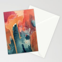 Pour Some Sugar on Me: a colorful mixed media abstract in pinks blues orange and purple Stationery Cards