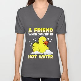 A Friend When You're In Hot Water Cute Baby Duck Unisex V-Neck