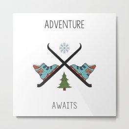 Adventure Awaits - Ski Metal Print