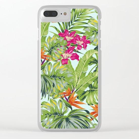 Bird of Paradise Greenery Aloha Hawaiiana Rainforest Tropical Leaves Floral Pattern Clear iPhone Case