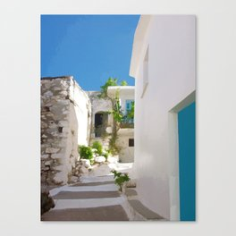 Lots of Steps and Whitewashed Buildings in Greece Canvas Print