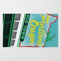portland Area & Throw Rugs featuring Portland by Casey Baggz