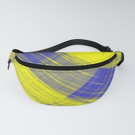 Checkered pillars of canary stripes of hanging flowing lines on velvet fabric.  Fanny Pack