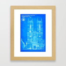 Westminster Abbey Architecture - Gothic Blueprints  Framed Art Print